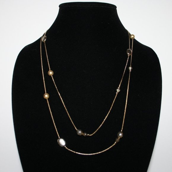 """Pretty silver and gold necklace 48"""""""